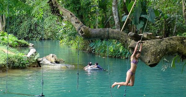Blue Lagoon in Vang Vieng, Laos. I would LOVE to have this