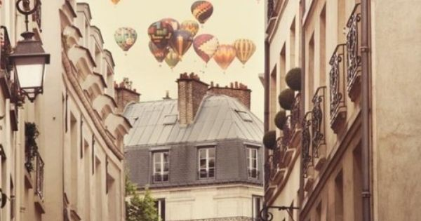 Paris Photography, Hot air balloons over street, Paris Decor, Europe, Travel, Romantic