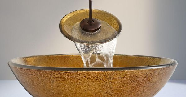 Gold Sink Bowl : The Vigo Glass Vessel Sink in Liquid Gold with Waterfall Faucet Set ...