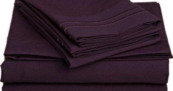 Clara Clark Supreme 1500 Collection 4pc Bed Sheet Set Cal King Size Purple Eggplant Amazon Home