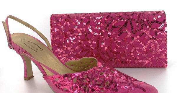 fuschia pink sequin satin matching shoes and bag set i m