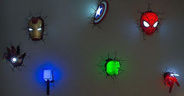 Marvel 3d Wall Art Night Lights Bundle Iron Man Hulk Spiderman Captain America Marvel Bedroom Marvel Room Superhero Room
