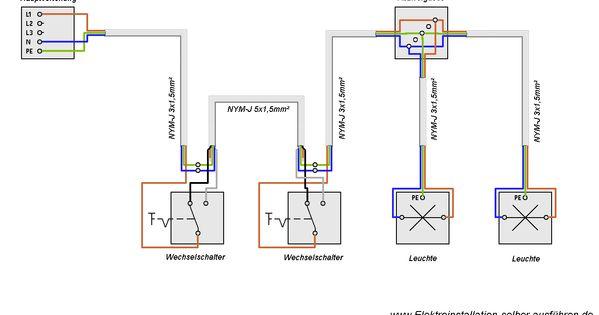 schaltplan einer wechselschaltung mit zwei lampen elektrische schaltungen f r die. Black Bedroom Furniture Sets. Home Design Ideas