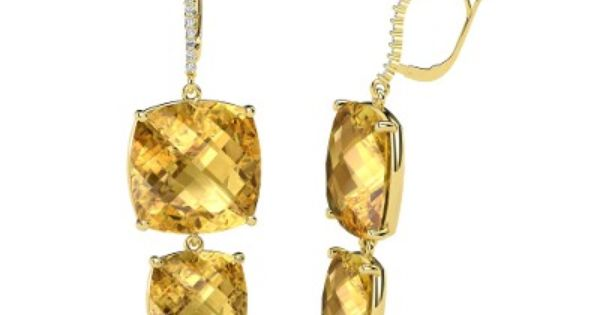 Checkerboard Cushion Pavilion Citrine 14K Yellow Gold Earrings with Smoky Quartz |