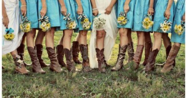 Bridesmaids and cowboy boots