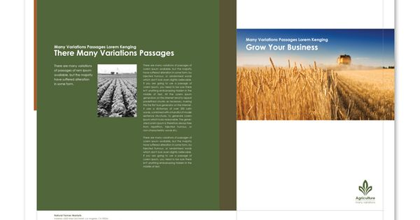 Farming Amp Agriculture Brochure Template Http Www
