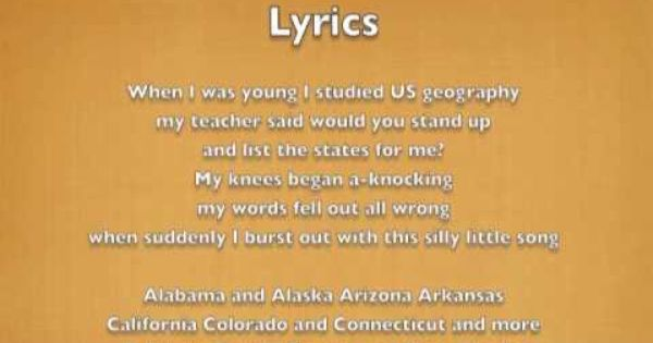 The 50 States and Capitals Song: Song for naming all 50 US ...