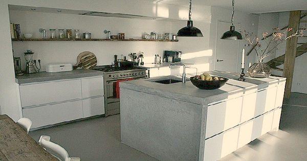 Stoerder kan niet een betonnen aanrechtblad het liefst van minimaal 6 cm in combinatie met - Witte keuken voorzien van gelakt ...