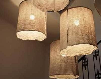 Hanging DIY paper lamp shade crafts on wall - home decor, handmade lamp shade Lamps & Lighting ...