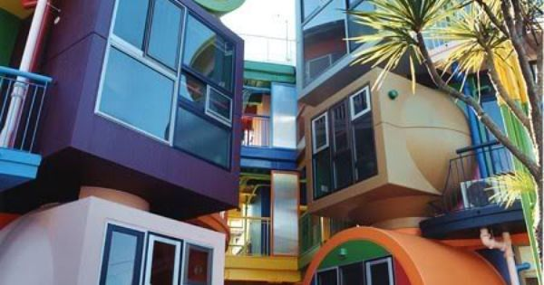 colorful houses in Japan. Reminds me of Dr. Suess. And The Lorax