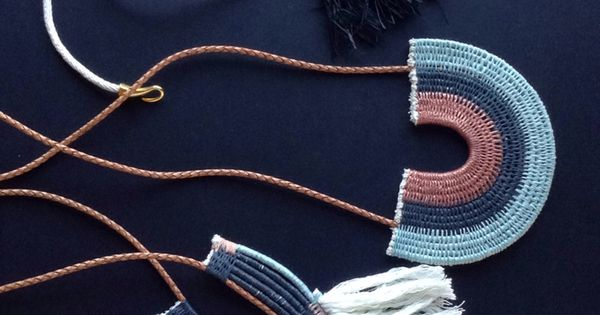 Woven rope necklaces by ouch flower black blue peach for Rope designs and more
