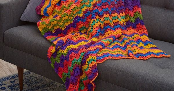 Vibrant Stripes Throw Free Crochet Pattern In Red Heart