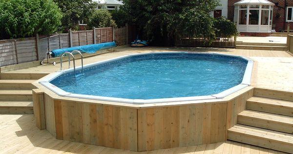 30 39 x 15 39 aluminium above ground pool with decking surround backyard ideas pinterest. Black Bedroom Furniture Sets. Home Design Ideas