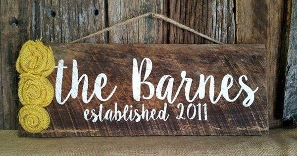 Personalized Barnwood Last name signs Housewarming gift ...