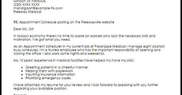appointment scheduler cover letter sample livecareer templates - scheduler job description