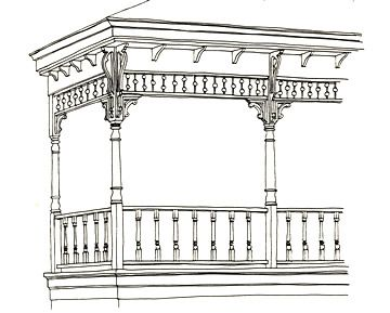 Three Dimensional Porch Drawing Gingerbread Trim Porch Front Porch