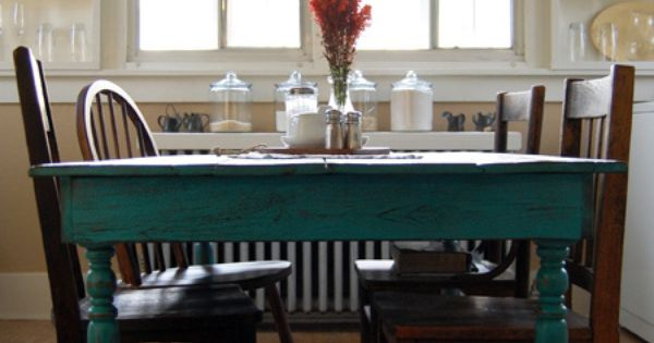 Paint our kitchen table teal for Teal dining room table