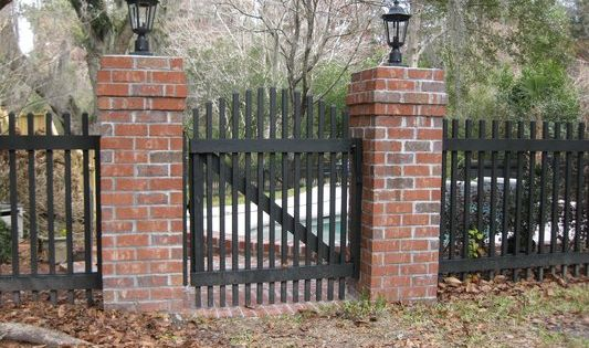 Red Brick Pillars With Charcoal Grey Iron Or Painted