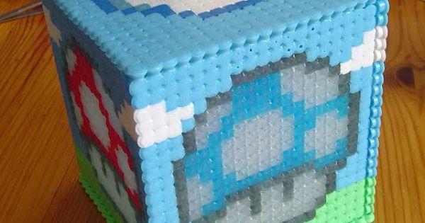 perler bead tissue box | Hucha Setas Super Mario