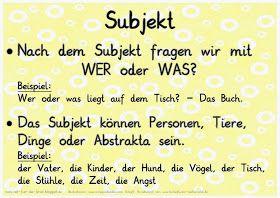 Satzglieder Merkplakate Satzglieder Effektiv Lernen Deutsch Lernen
