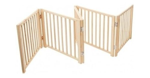 Folding Pet Gate Wood Fence Indoor Free Standing Panel