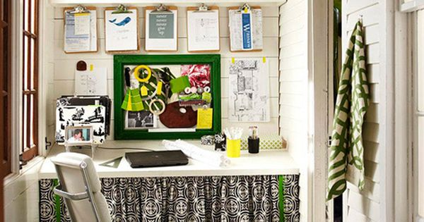 Home Office Alcove: great use for small space and you can hide