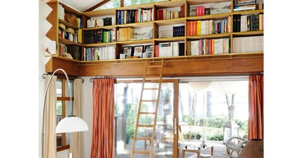 Idee deco salon bibliotheque originale  déco  Pinterest  Elle ...