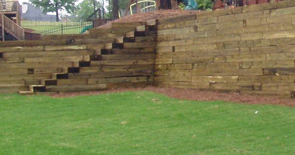 Stairs W Railroad Tie Retaining Wall Hillside