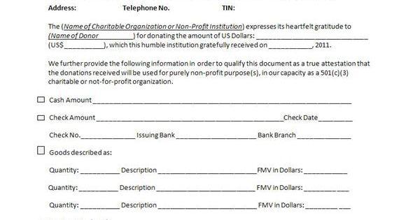 charitable donation receipt sample Cheer Pinterest – Charitable Donation Receipt