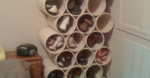 Low-Cost Shoe Rack Using PVC Pipes DIY Shoe Organizer. Closets ...