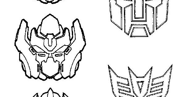 Transformers Faces Printable Coloring Page Gif 600 215 850