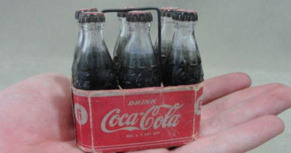 "6 VINTAGE M.R COCA COLA MINIATURE GLASS BOTTLE W// PLASTIC CASE 3/"" MINI COKE"