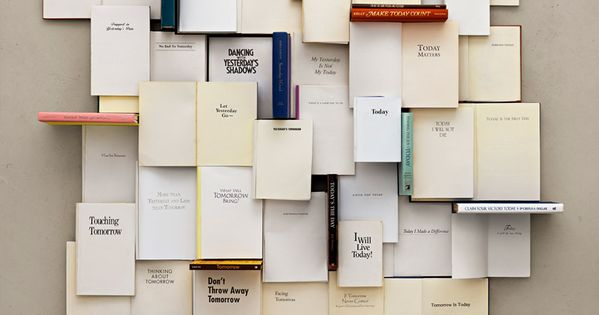 Art piece marking difficult moments in life with the books that got