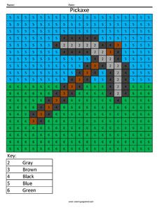 Minecraft Pickaxe Color By Number Coloring Squared Minecraft Coloring Pages Math Coloring Minecraft