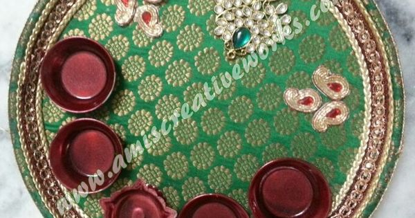Aarti thali wedding decoration pinterest for Aarti thali decoration with kundan