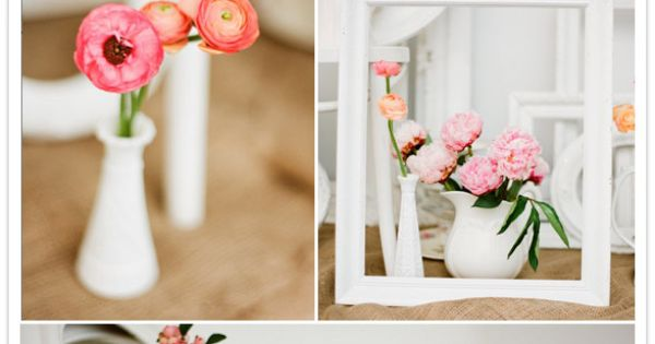 Love the white frames & pink flowers