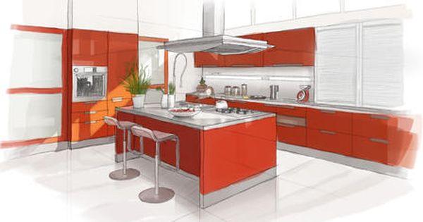 Amenagement interieur cuisine croquis pinterest for Amenagement interieur cuisine