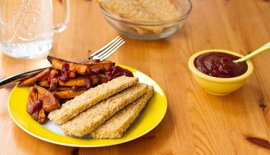 Crispy Breaded Tofu Strips and Sweet Potato Fries | Recipe | Tofu ...