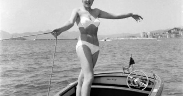 cannes film festival lise michaud modeling a bikini on a speed boat just off the beach cannes. Black Bedroom Furniture Sets. Home Design Ideas