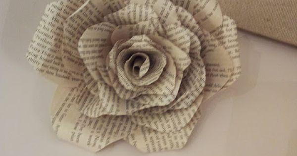 page de livre roses tutoriel papier pinterest fleur tutoriels et faire un livre. Black Bedroom Furniture Sets. Home Design Ideas