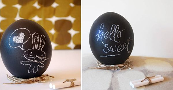 Chalkboard Easter Eggs. Hollow ostrich eggs painted with chalkboard paint, sold online