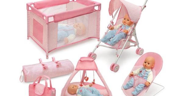 Badger Basket Five Item Doll Furniture And Accessory Set Pink White Toys Games