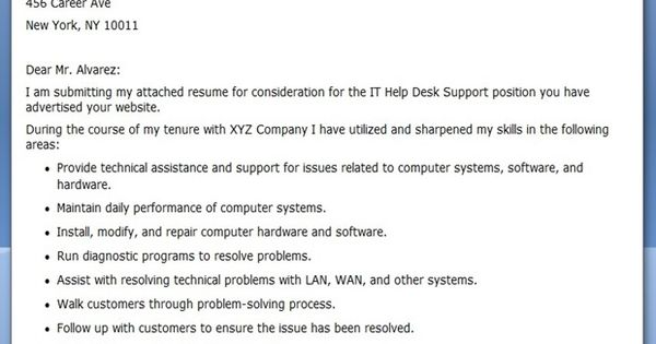 It help desk cover letter template
