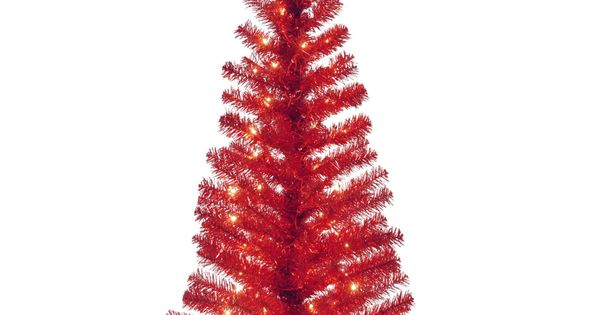 4 ft Tinsel Wrapped Pre-lit Medium Christmas Tree - Red - TT33-305