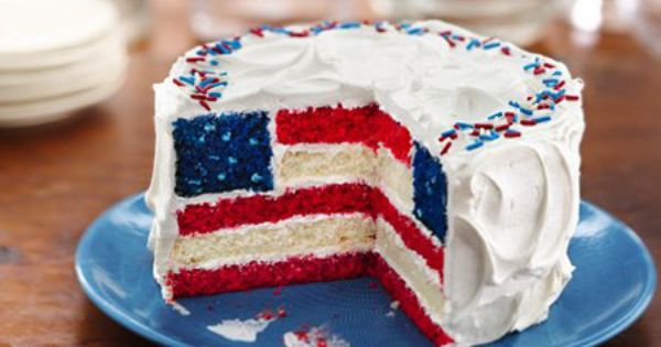Red, White Blue Layered Flag Cake for 4th of July. So cute!