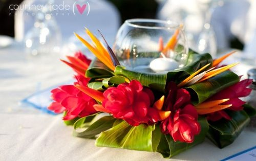 Elegant Hawaiian Style Centerpieces Colorful Exotic
