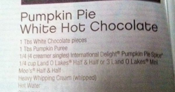 Pumpkin pies, Hot chocolate and Pies on Pinterest