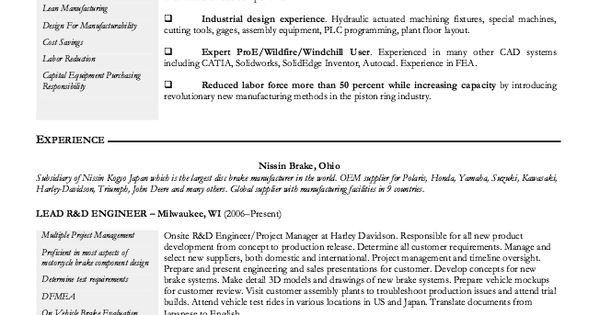 Manufacturing Engineer Resume Sample -    resumesdesign - resume for manufacturing