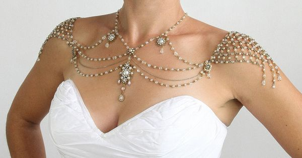 Necklace For The SHOULDERS, 1920s Style, Beaded Pearls And Rhinestone,Jazz Age,Antique Gold,