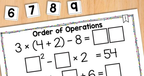 Math Tiles Order Of Operations 2 With Exponents Math